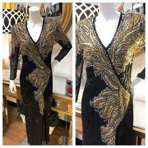 OLEG CASSINI BLACK TIE Black / Gold Vintage Gown 8
